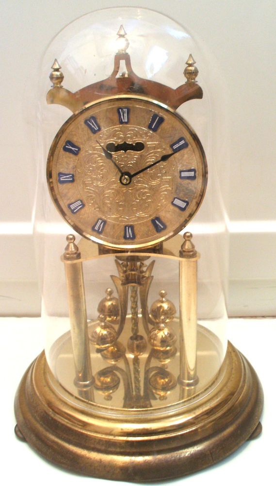 f0637692b8d Kundo German Anniversary Winding Movement Mantle Clock with Glass Dome 11.5  H