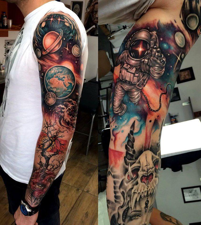 Solar System Sleeve Tattoo
