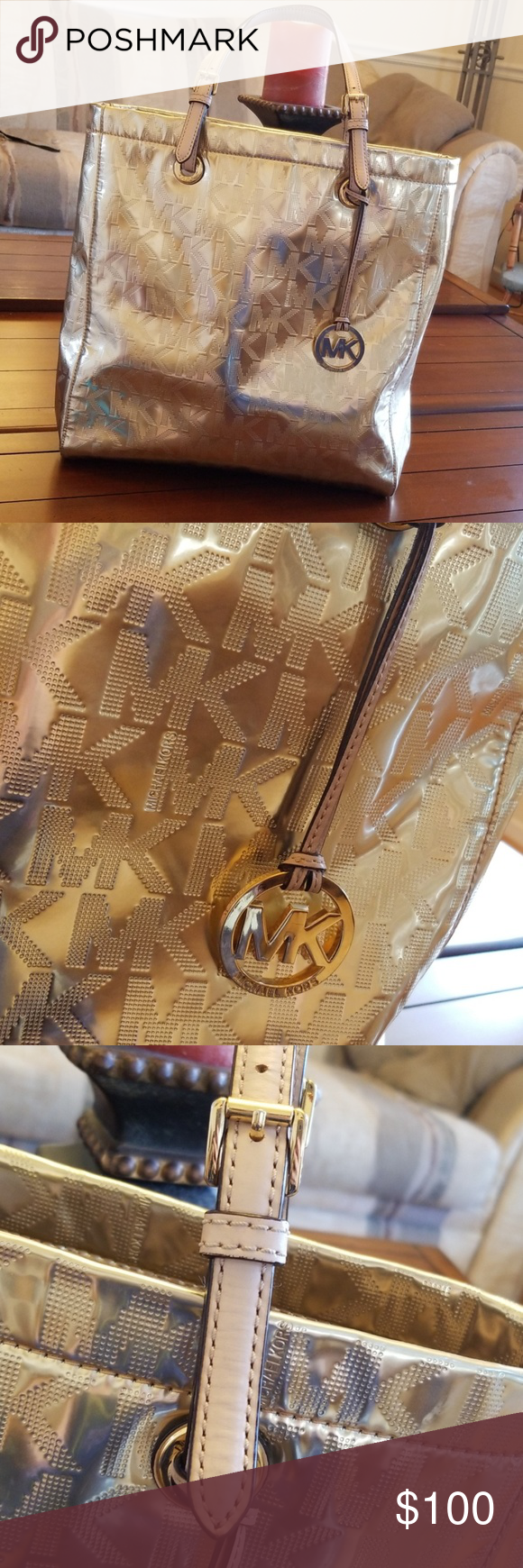 MK GOLD 🌟 TRAVEL TOTE Michael Kors large gold travel tote with MK logo. This bag is in excellent con...