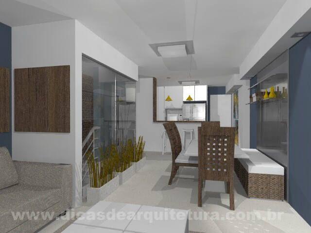 Salas de TV e Jantar com escada em caixa de vidro. http://dicasdearquitetura.com.br/salas-com-cozinha/