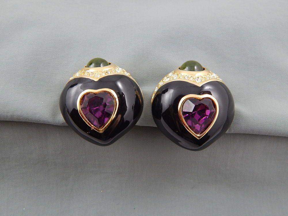 Estate Signed Joan Rivers Enamel Rhinestone Cab Statement Earrings clip style