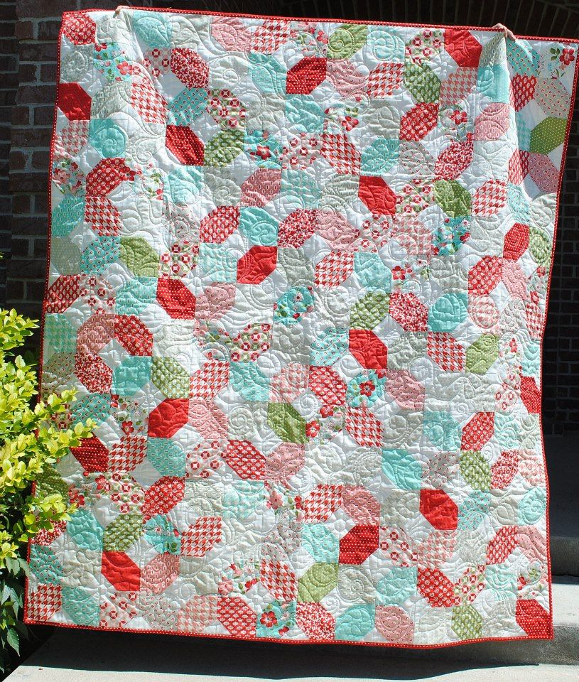 And o s quilt with vintage modern charm squares pieced and