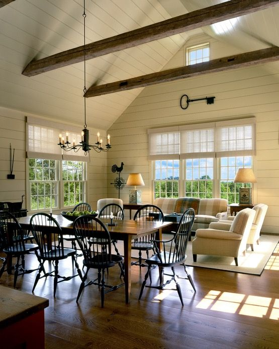 windsor chairs farm table i love this whole space