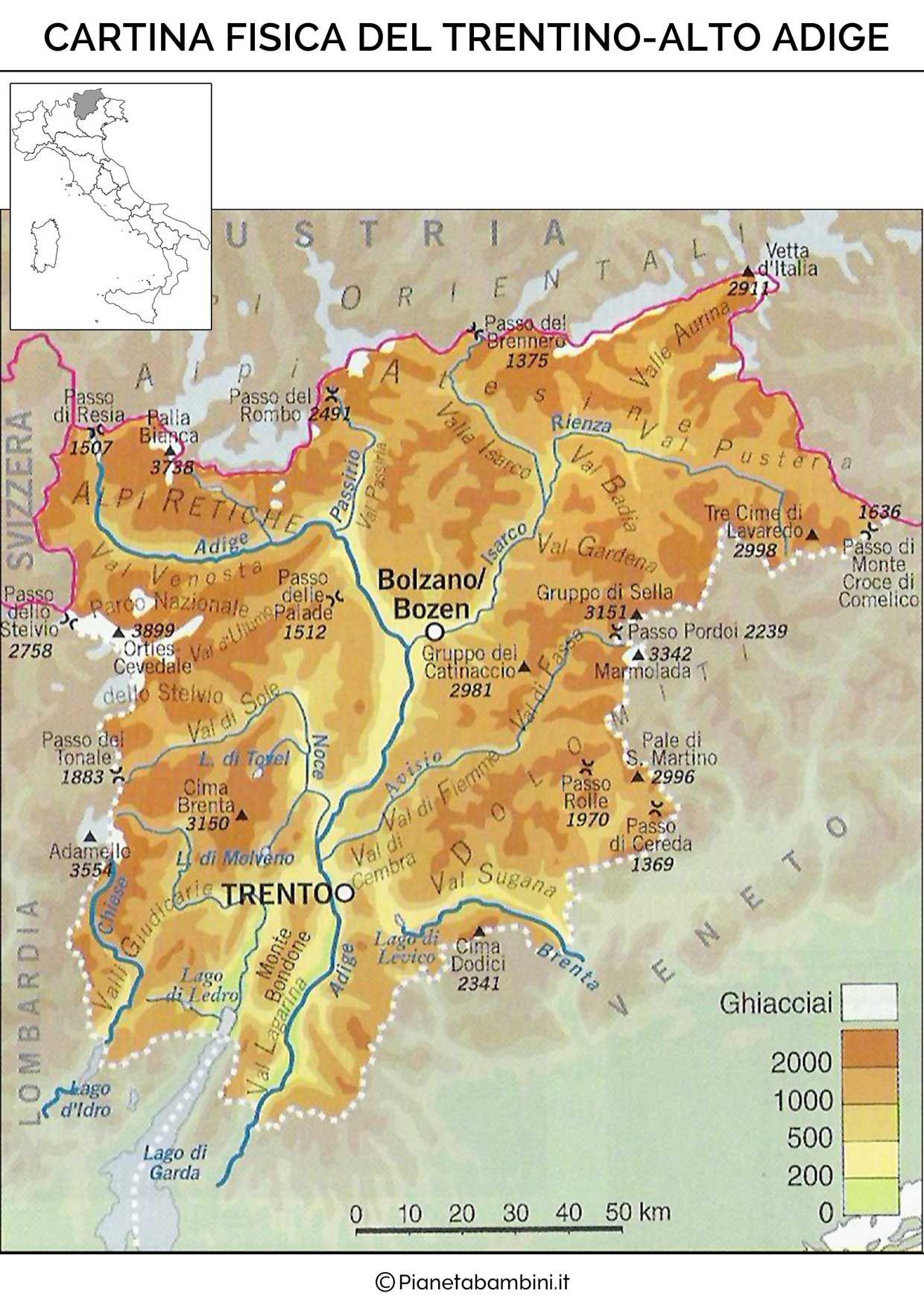 Cartina Muta Fisica e Politica del TrentinoAlto Adige da Stampare