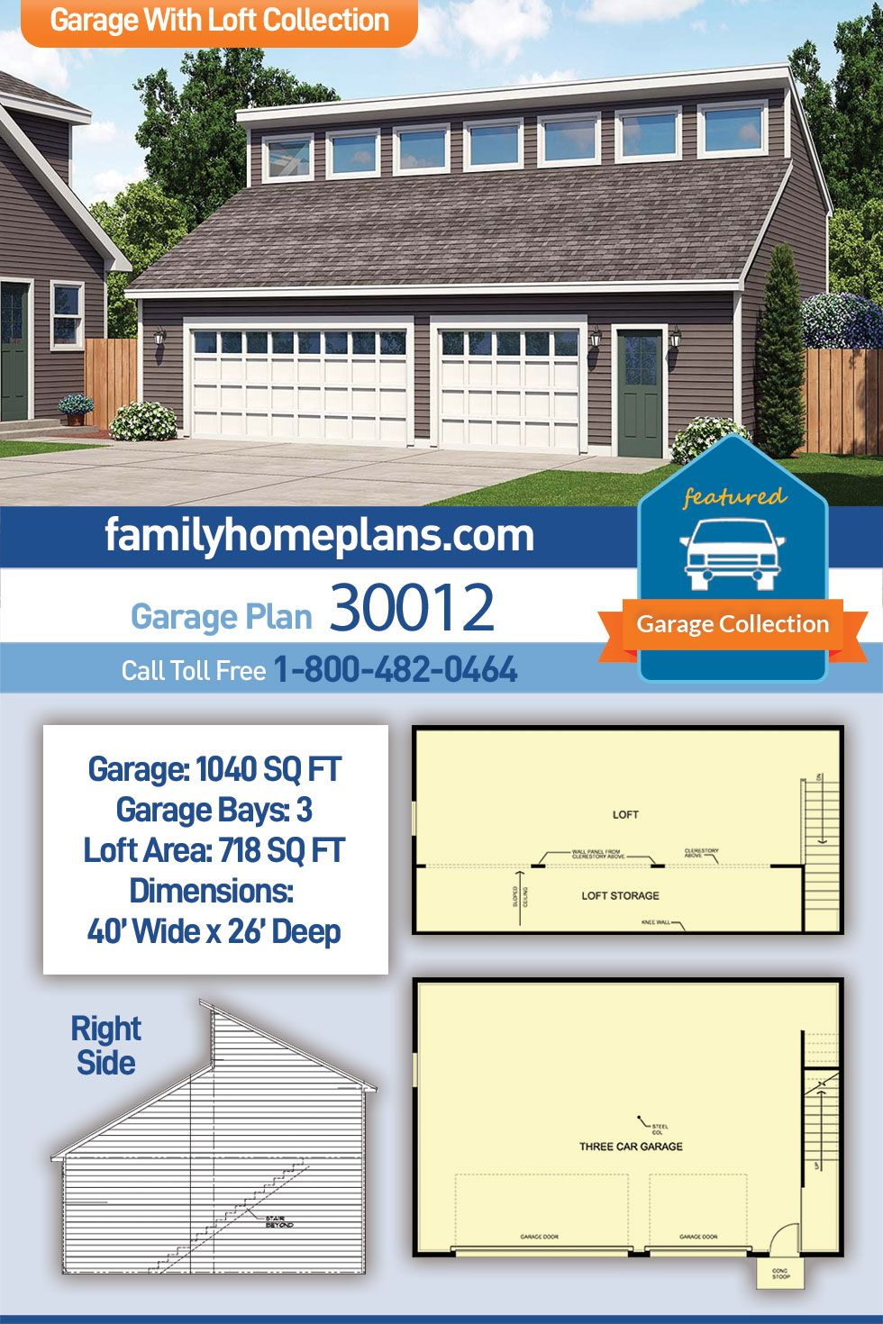 Contemporary Style 3 Car Garage Plan Number 30012 Garage Building Plans Garage Plan 3 Car Garage Plans