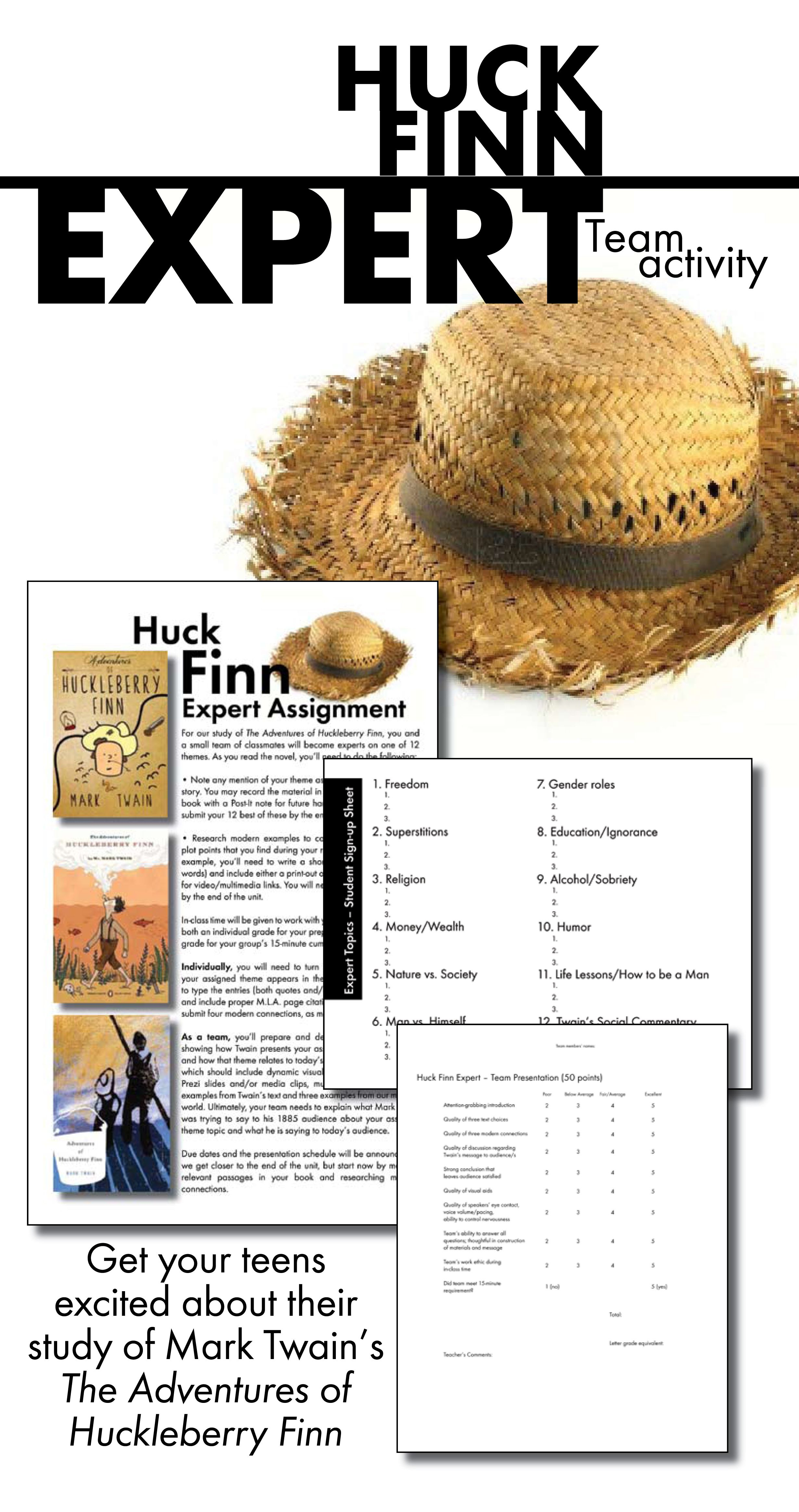 Huck Finn Team Activity Use Mark Twain S Themes To