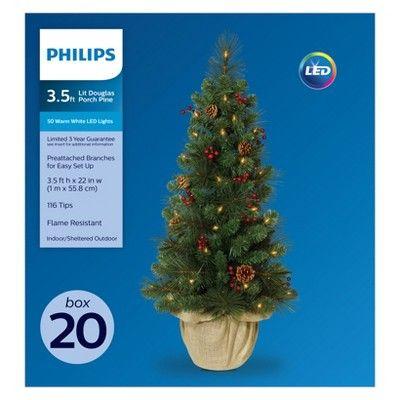 Philips 35\u0027 Prelit Artificial Christmas Tree Potted Douglas Fir