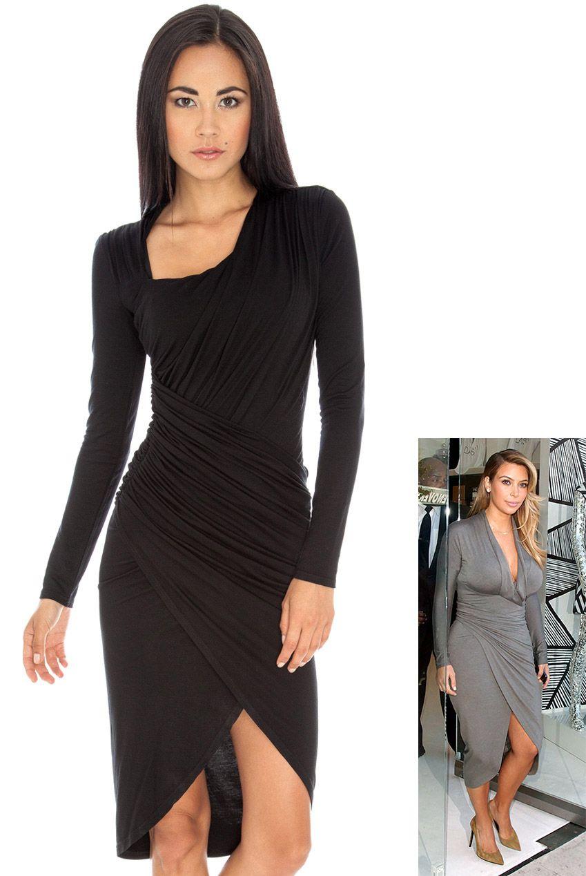 b4f85d89401 Three Quarter Long Sleeve Jersey Dress in the style of Kim Kardashian £39