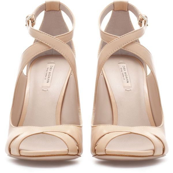 Zara Cross Strap High-Heel Sandals (€35) ❤ liked on Polyvore featuring shoes, sandals, heels, nude, sapatos, zara, leather sandals, nude high heel sandals, nude high heel shoes and leather heel sandals