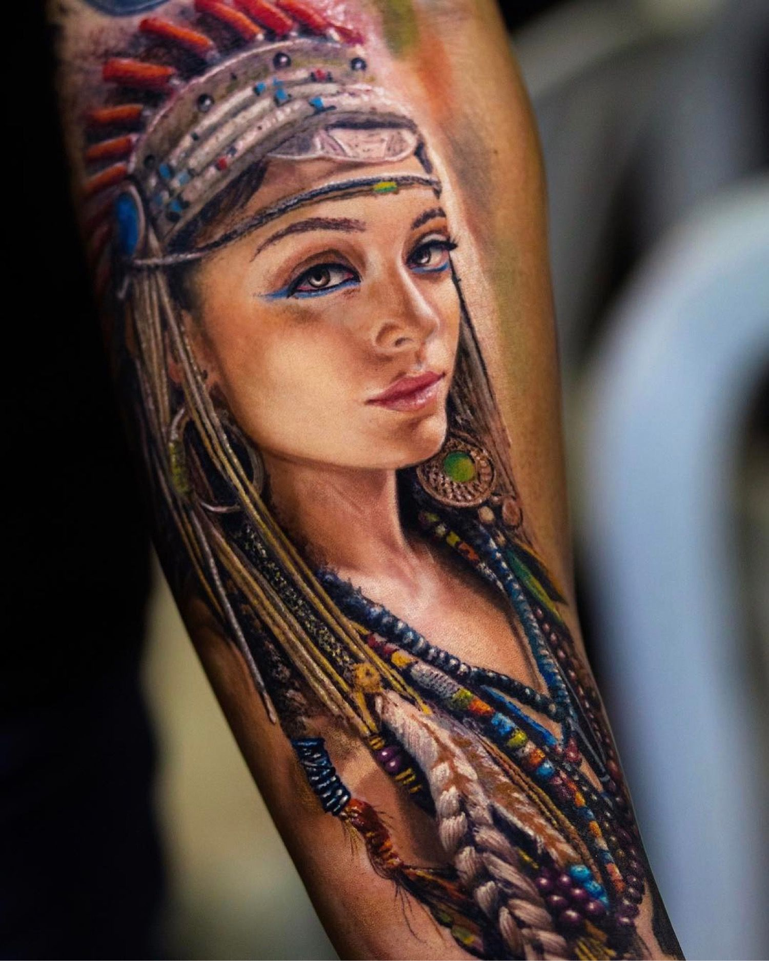 Native American Women Tattoos Designs