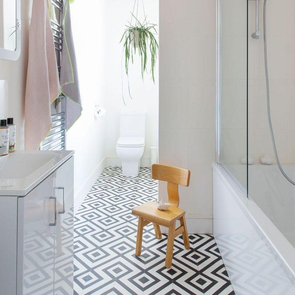 38 Lovely Geometrical Tiles Ideas For Your Bathroom Decoration Vinyl Flooring Bathroom Bathroom Vinyl Vinyl Flooring