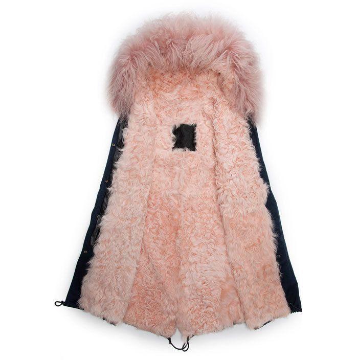 blue fur lines parka | blue coats, pink lining real wool fur ...