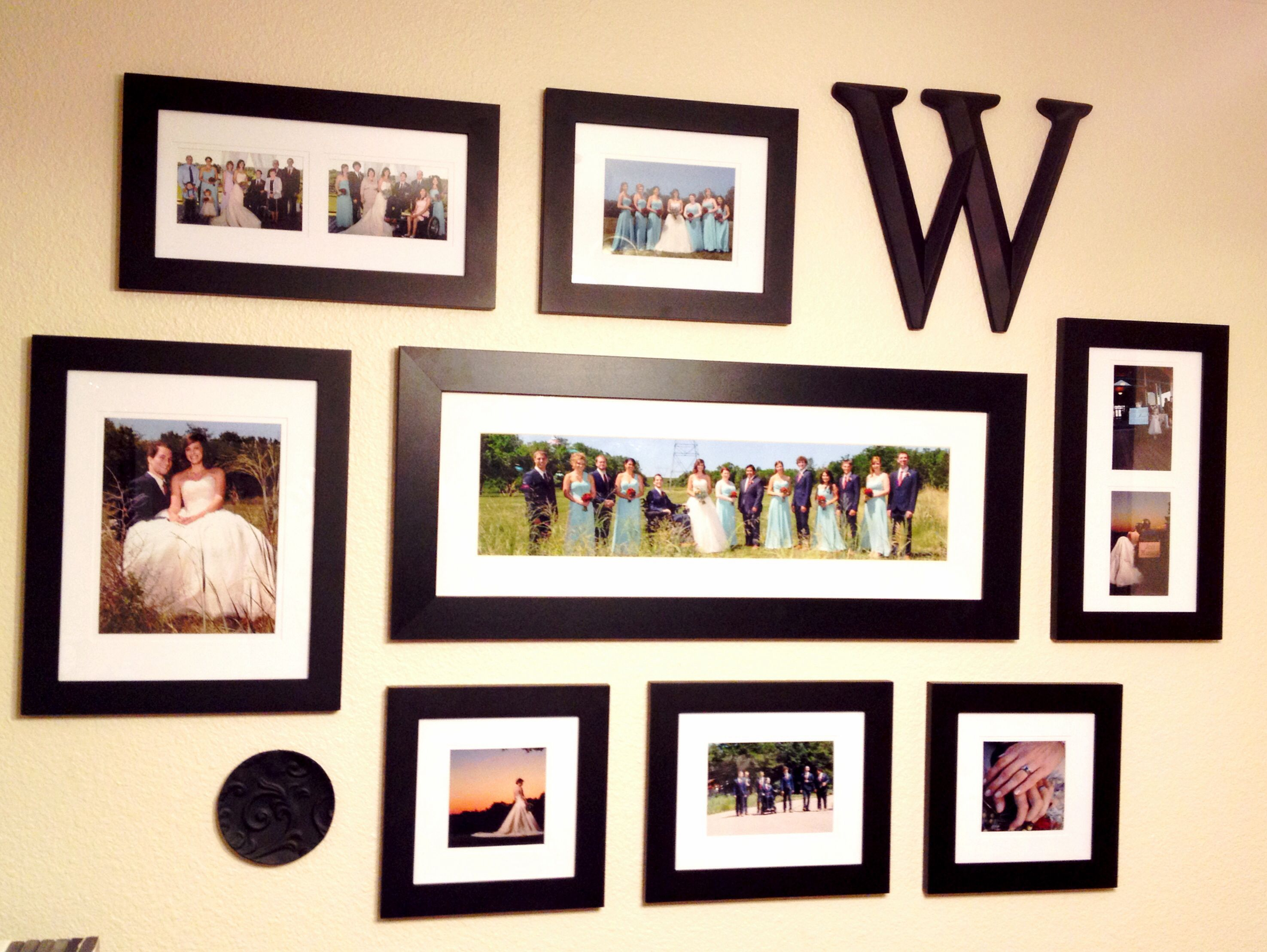 Our photo collage wall of wedding photos home for Collage mural ideas