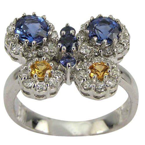 Sapphire Diamond Butterfly Ring: Jewelry