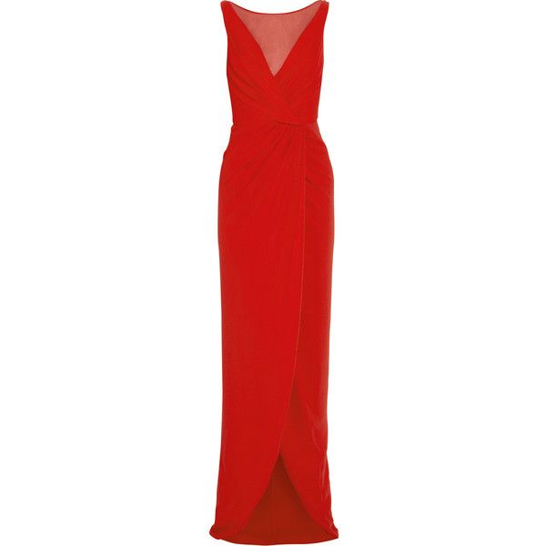 Giambattista Valli Gathered silk-voile and stretch-cady gown (£599) ❤ liked on Polyvore featuring dresses, gowns, vestidos, giambattista valli, red, red dress, red ruched dress, red evening dresses, red ball gown and red stretch dress