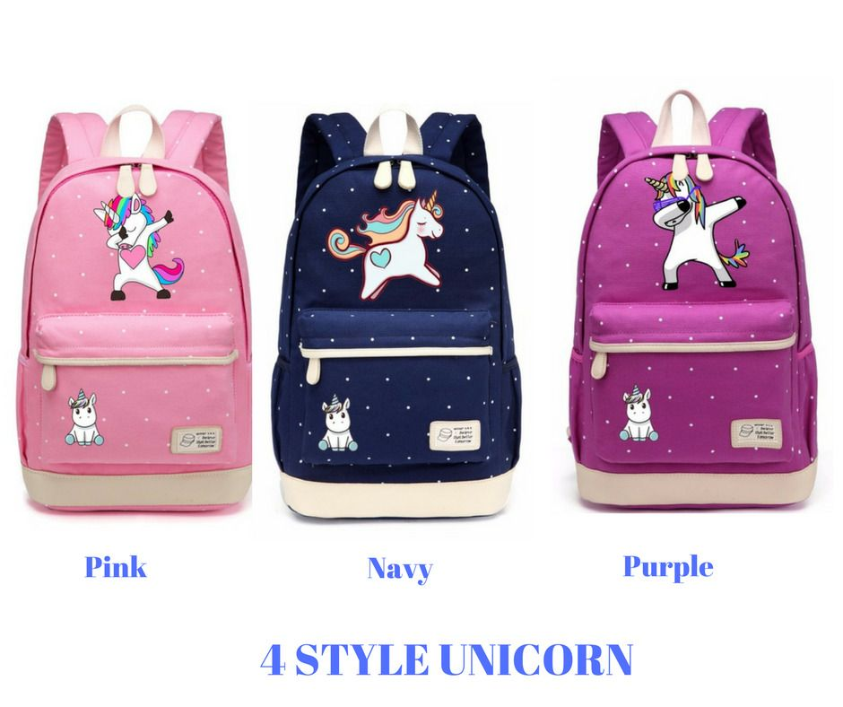 5e981cc2ed2a Cute Unicorn Dab cartoon Backpack For Women Girls Canvas bag Color Pink  Purple  WISHOT