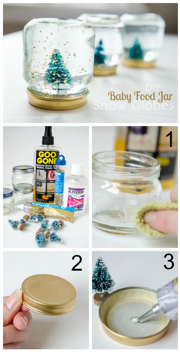 Baby Craft Ideas For Christmas Part - 31: How To Make DIY Mini Snow Globes Out Of Baby Food Jars. What A Fantastic  Handmade Christmas Gift Idea! Love Those Wee Bottle Brush Trees