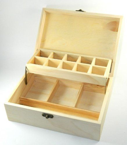 Design Your Own Wood Devided Box DIY Unfinished Trinket Jewelry