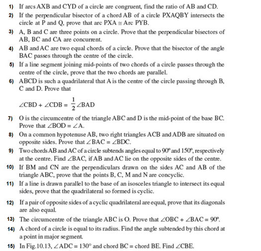 Important Questions For Class 9 Maths Chapter 10 Circles