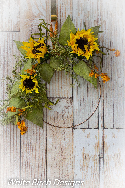 Photo of Sunflower Wreath, Hoop Wreath, Front Door Wreath, Yellow Wreath, Autumn Decoration, Sunflower Hoop Wreath, Autumn Wreath, Ready to Ship