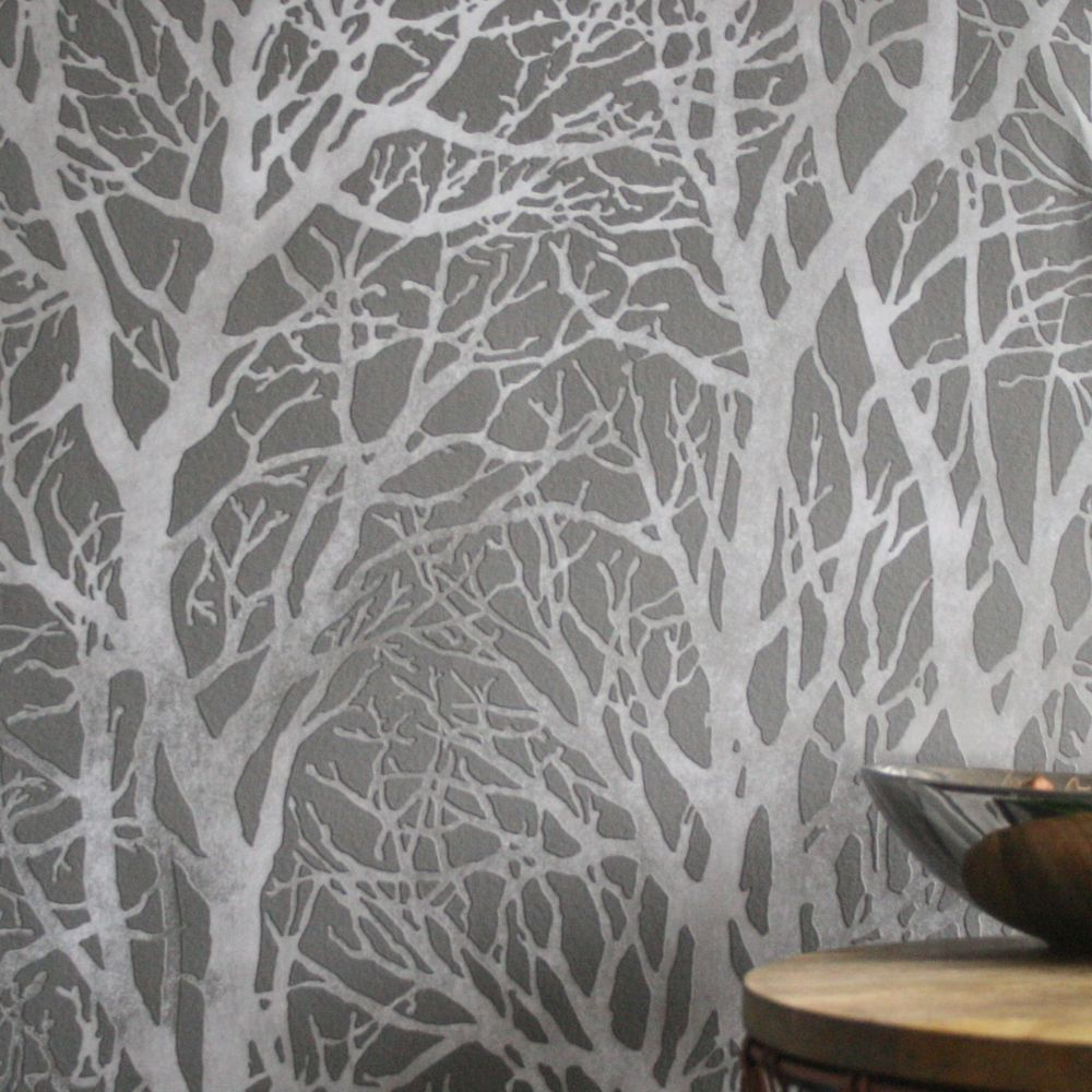 Wanders blue wanders forest flocked wallpaper damask wallpaper - Damask Wallpaper Brick Effect Wallpaper Layers Of Tree X27 S Make Up