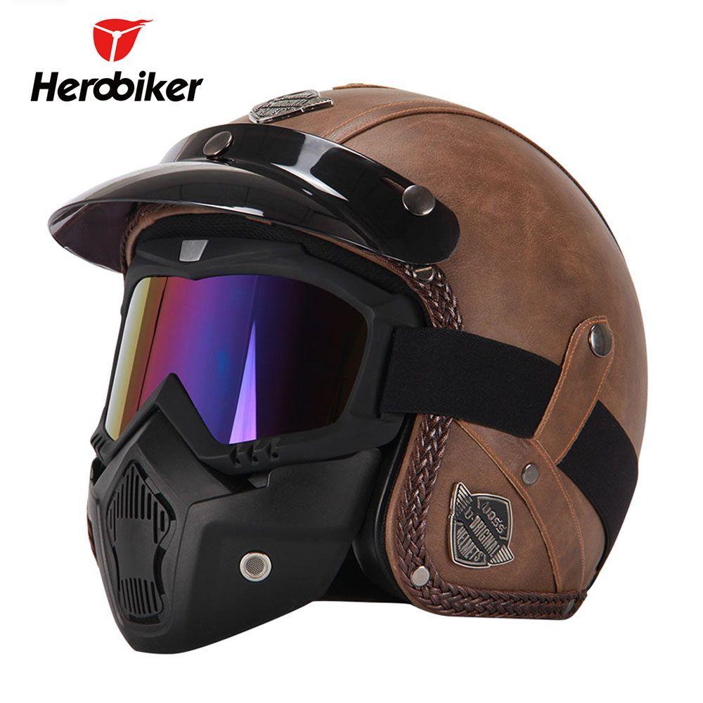 Buy New Retro Vintage German Style Motorcycle Helmet 3 4 Open Face Helmet Scooter Chopper Cruiser Bik Retro Motorcycle Helmets Open Face Helmets Vintage Helmet