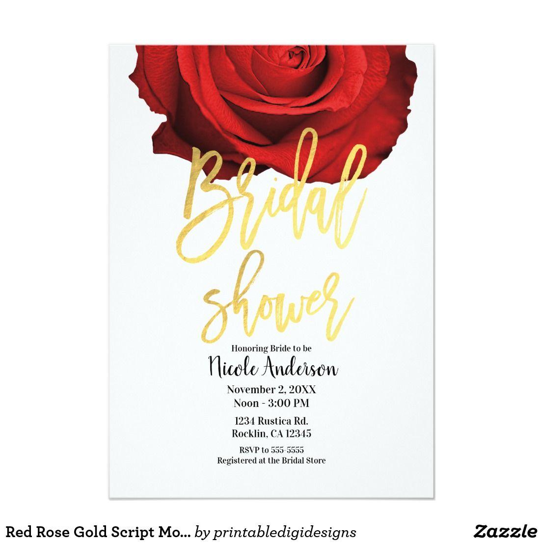 Red Rose Gold Script Modern Trendy Bridal Shower Card | Bridal ...