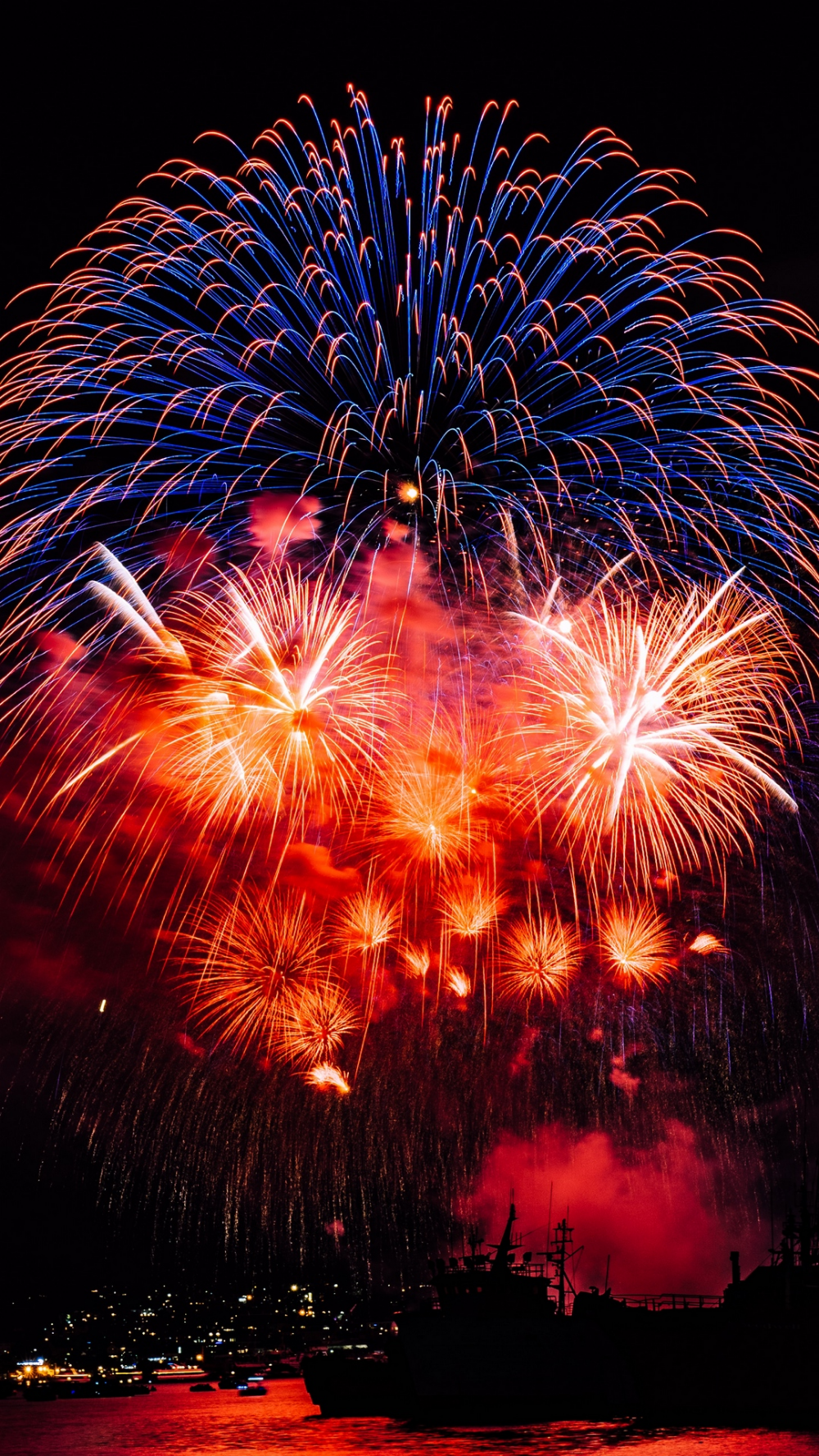 Download wallpaper 1080x1920 fireworks, salute, colorful
