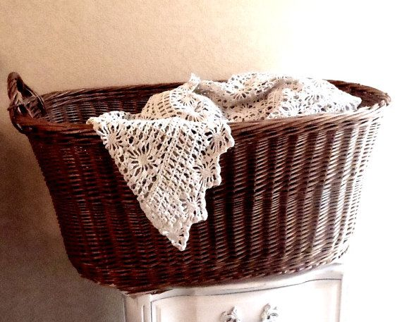 Vintage French Round Wicker Laundry Basket By