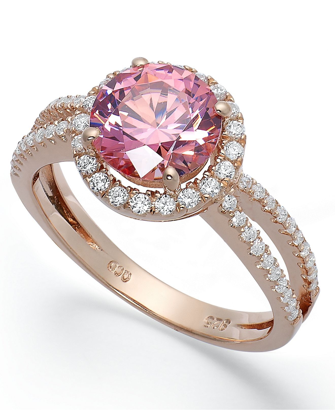 14k Rose Gold Over Sterling Silver Ring Pink Cubic Zirconia wth