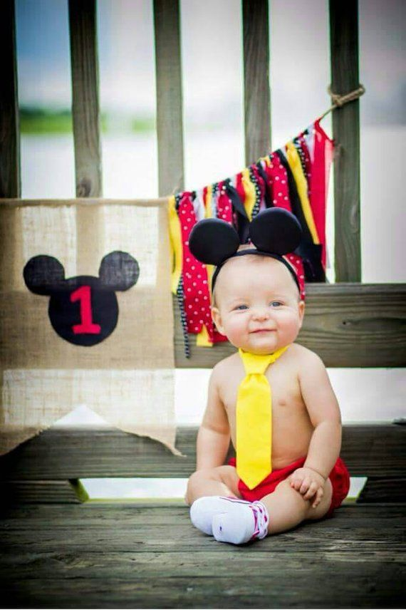 Mickey Mouse Tie And Diaper Cover Cake Smash Outfit First Birthday Prop