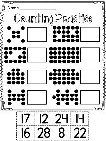 Subitizing cut and paste worksheet and so many more number