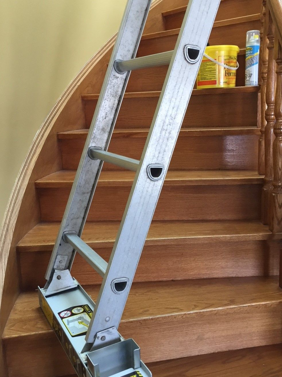 It S Time To Use A Ladder Safely On Stairs Ladder Aide The Safe Stable And Easy Way To Use A Single Of Double Extensio Stair Ladder Stairway Lighting Ladder
