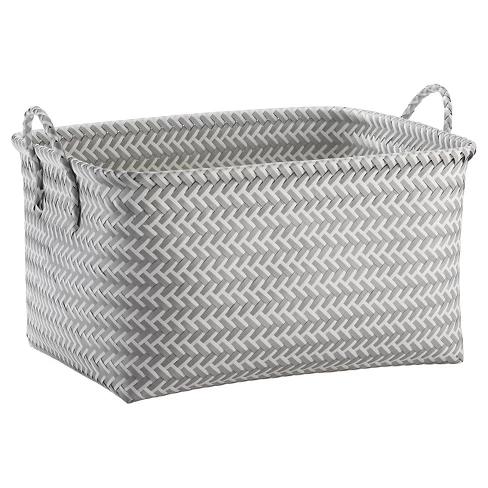 Large Woven Rectangular Storage Basket Gray White Room Essentials Storage Baskets Grey And White Room Decorative Storage Baskets