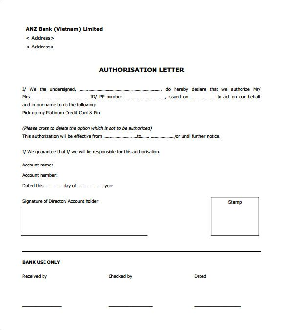 Sample Bank Authorization Letter Free Examples Format Documents
