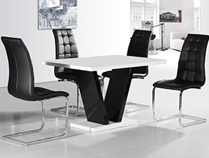 High Gloss Kitchen Table And Chairs Vertigo black and white high gloss dining table furniture my vertigo black and white high gloss dining table workwithnaturefo