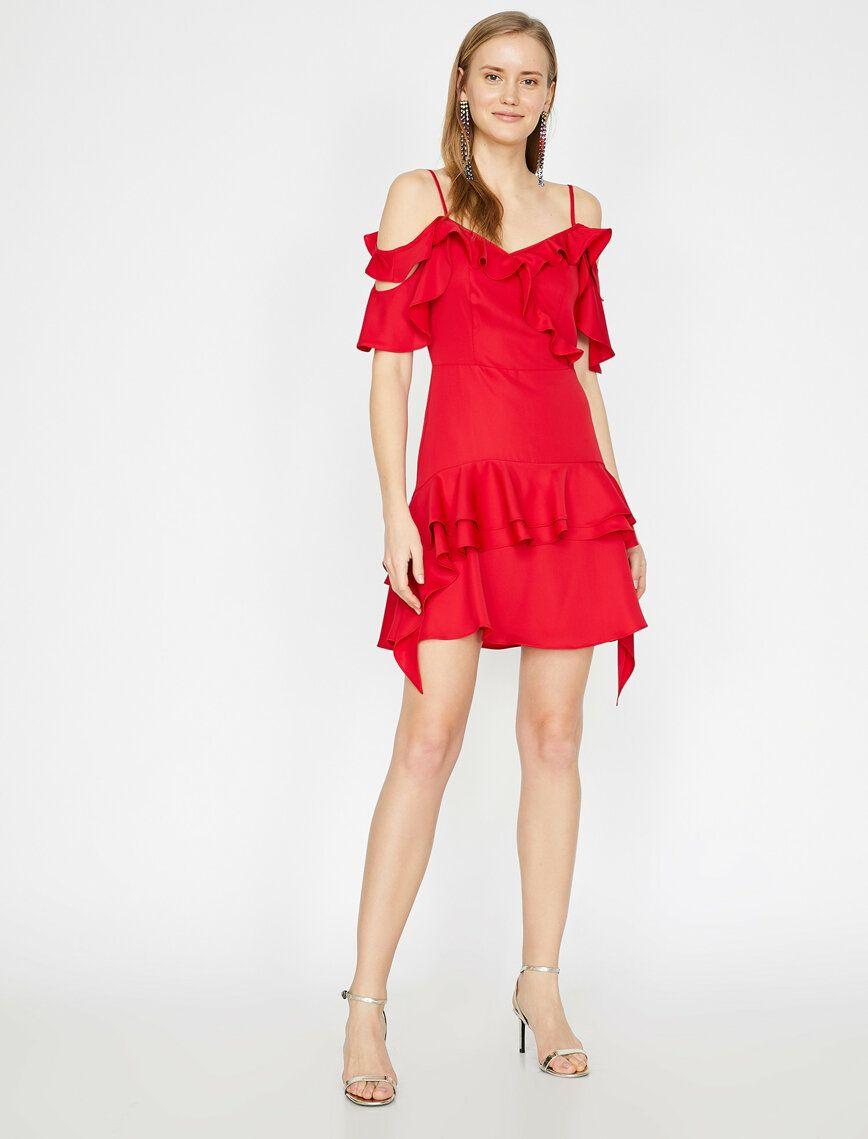 Kirmizi Bayan Firfir Detayli Elbise 9yak84669fw420 Koton Elbise Elbise Ayakkabi The Dress