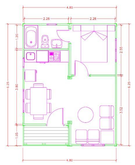 Plano de casa 30 m2 madera cabana prefabricada planos - Planos de casas de madera ...