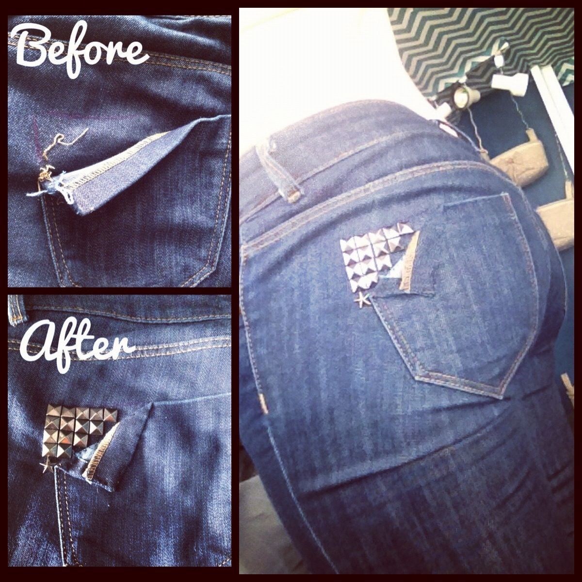 Todays DIY! Fix to a ripped jean pocket... Oh good getting ...