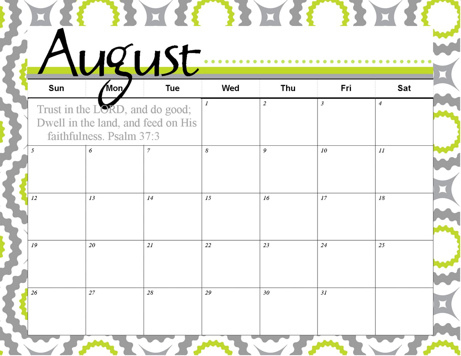 Free Printable August Calendar