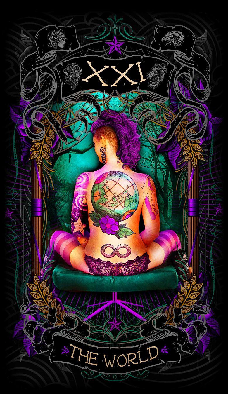 Pin by Psychobilly Tarot on Psychobilly Tarot card art | The world