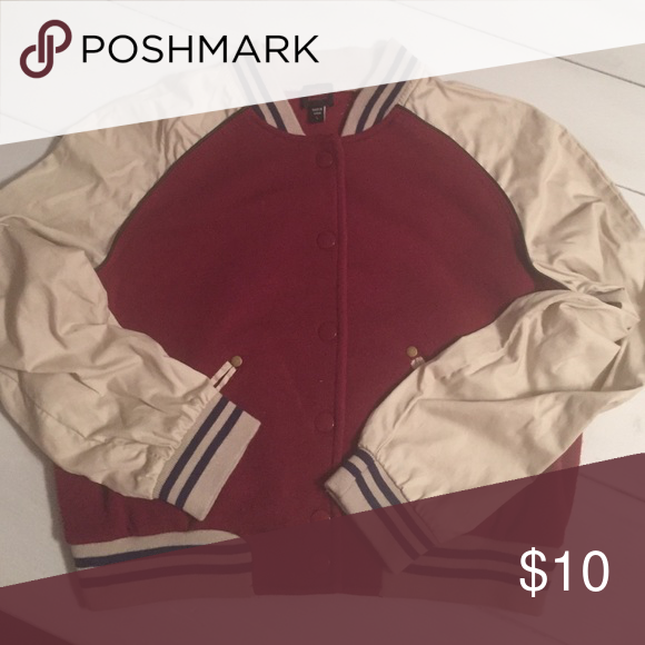 Lettermans jkt Burgundy body with khaki sleeves Jackets & Coats