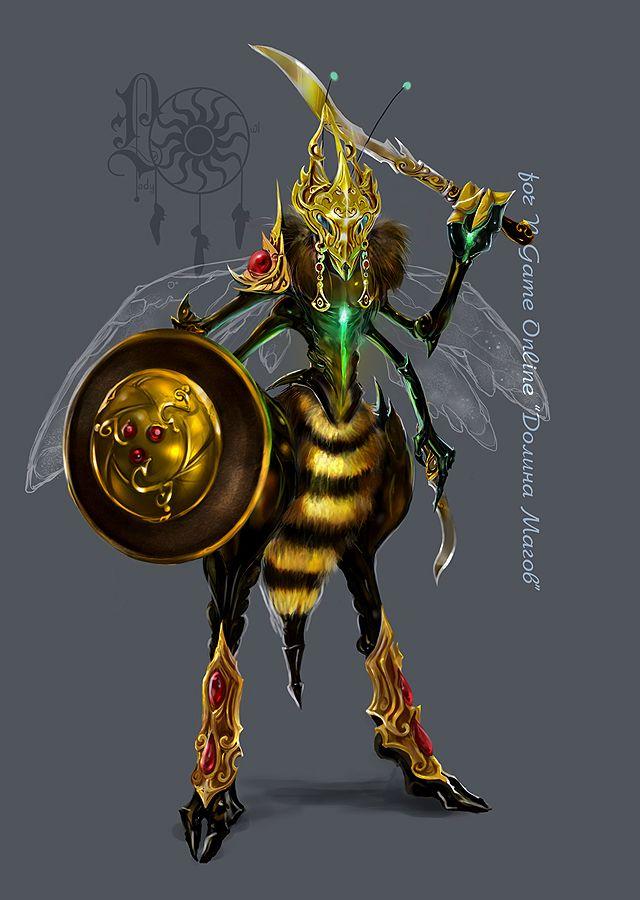 the hornetwarrior by ladyowl fantasy illustrations