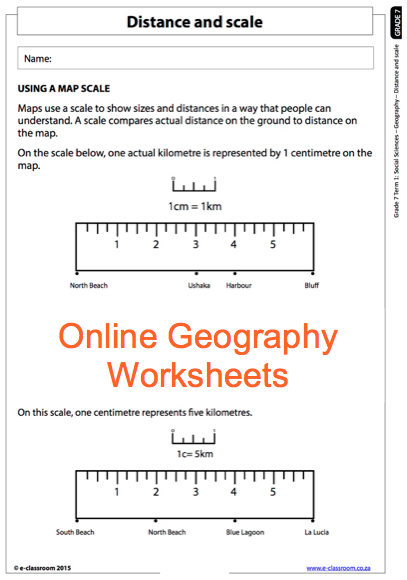 Grade 7 Online Geography Worksheet, Distance and Scale  For more