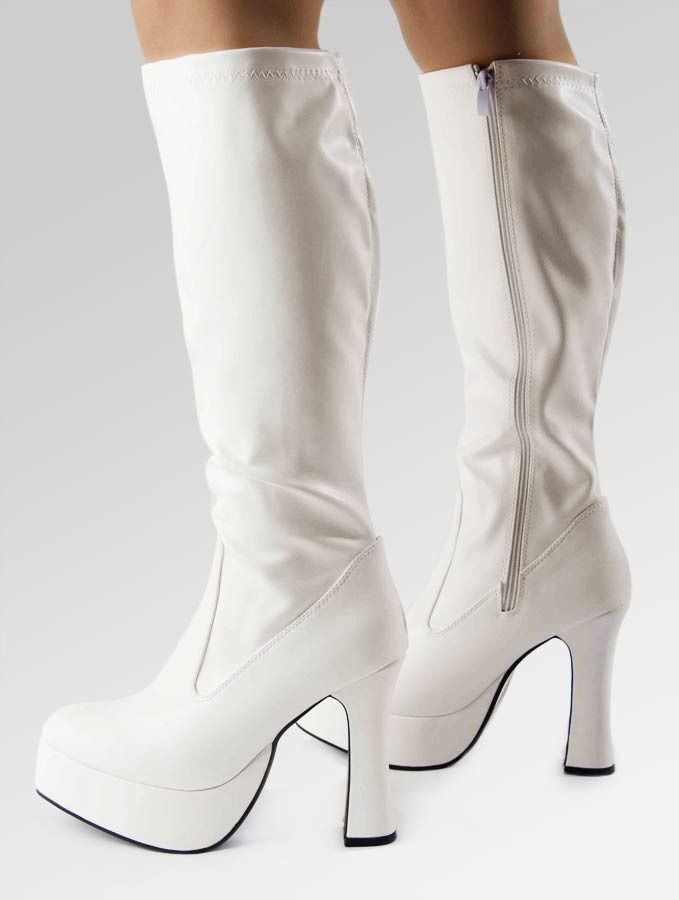 White patent leather platform boots. Perfect for that Abba themed fancy  dress! Knee high d75e610c7459