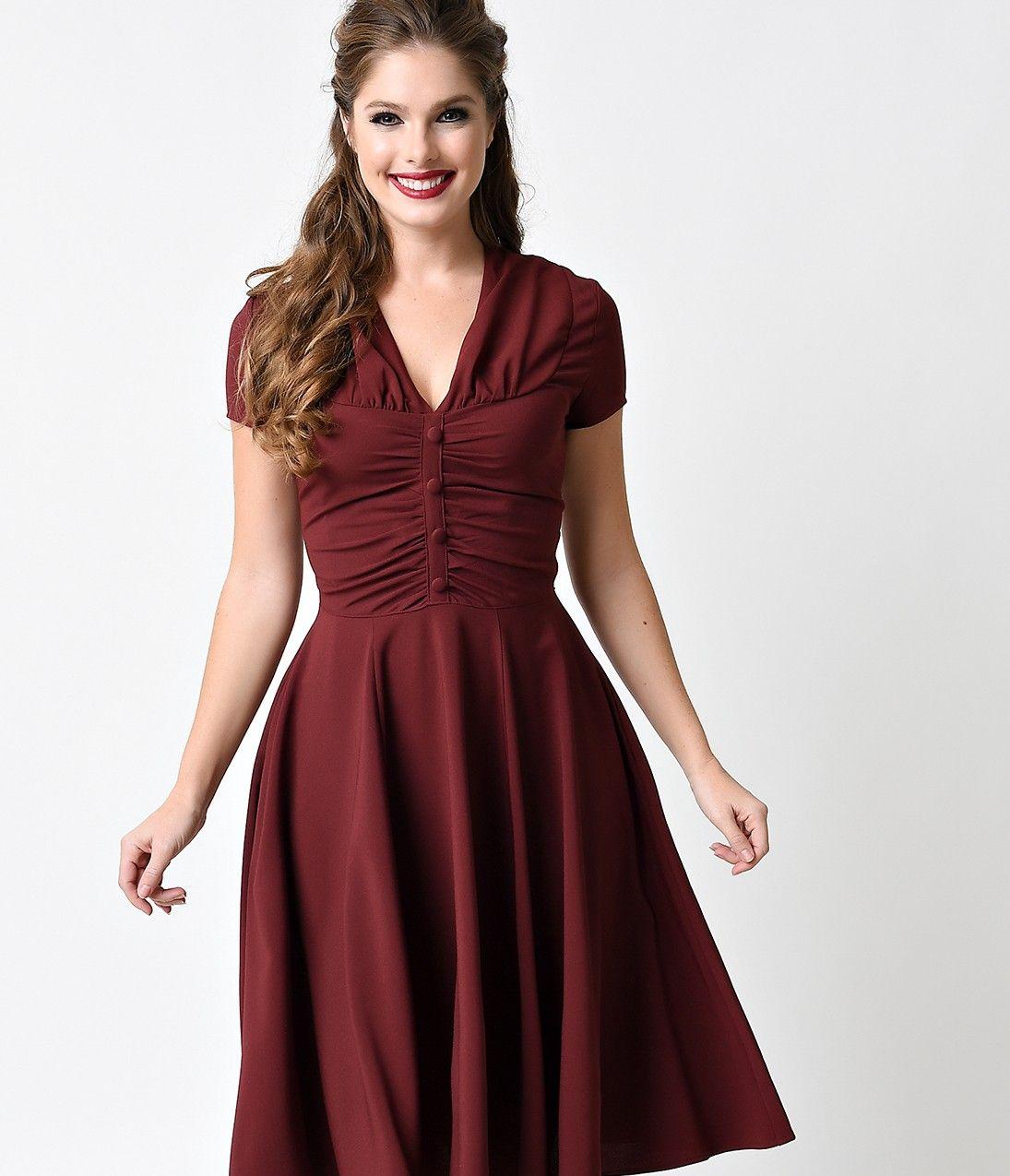 Hell bunny s burgundy crepe cap sleeved rosina swing dress my