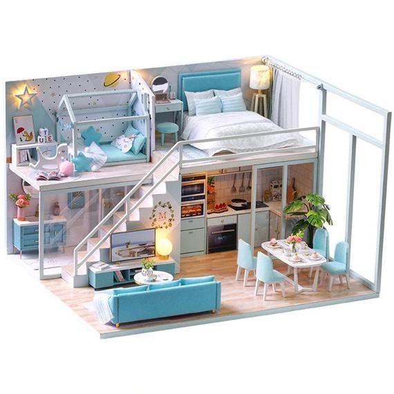 diy 3d wooden model dollhouse blue loft