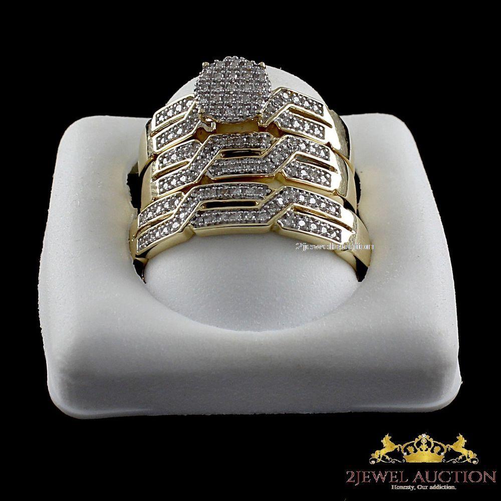 Diamond Wedding 14K Yellow Gold Criss Cross Trio Bridal