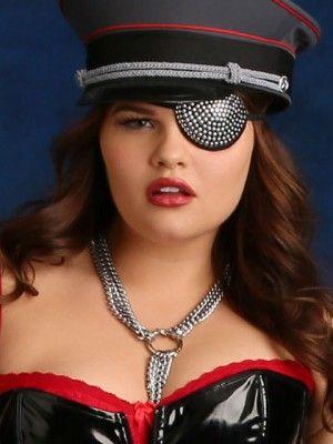 Black Pirate Eyepatch Diamante Motif Eye Patch Mens Ladies Fancy Dress Costume