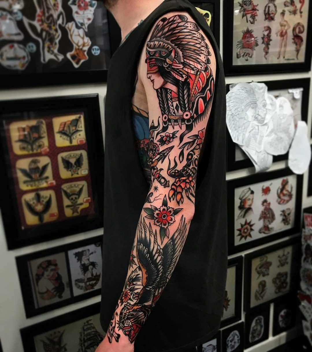 Pin By Serena Ponce On Tattoo S Traditional Tattoo Sleeve Traditional Tattoo Man Old School Tattoo Sleeve